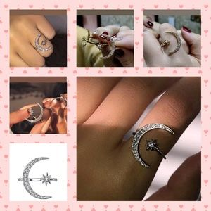 Crescent Moon & Star Ring Silver White Sapphire
